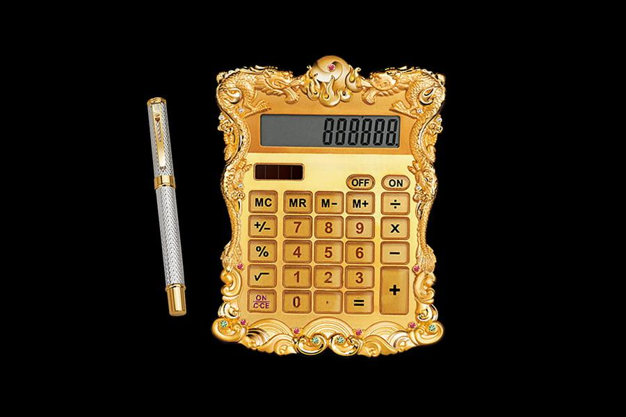 Vip Pen And Calculator Made Of Precious Metals Gold Silver Gems